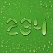 Water drop letters on green background — Διανυσματικό Αρχείο
