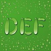 Letras de gota de agua sobre fondo verde — Vector de stock