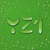 Wasser Tropfen Briefe auf grünem Hintergrund — Stockvektor