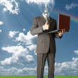 Businessman with lamp-head outdoors — Stock Photo