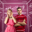Female in pink and male in red — Foto de Stock