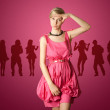 Sexy female stewardess in pink — Stock Photo #5116701