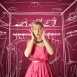 Surprised girl in pink - Stock Photo