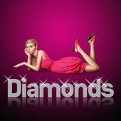 Diamond letters and blond woman — Stockfoto
