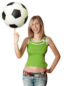Happy girl with soccer ball — Stock Photo