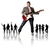 Punk man with the guitar and silhouette — Stock Photo