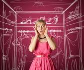 überrascht mädchen in rosa — Stockfoto