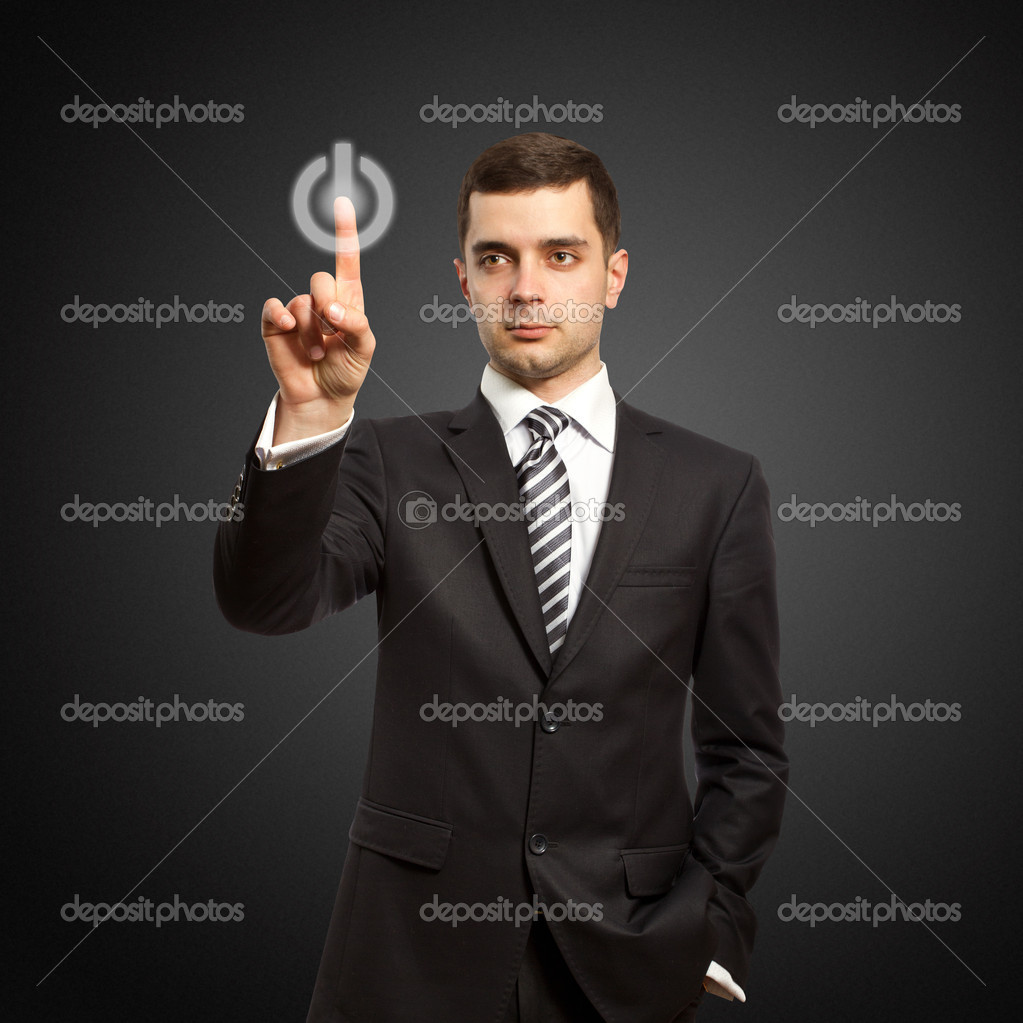 Businessman push the button on virtual touch pad — Stock Photo #5116145