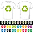 图库矢量图片: Blank shorts of different color with recycling symbol