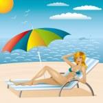 Sexy woman in bikini on the beach 2 — Stock Vector #5116709