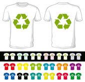 Cortos en blanco de un color diferente con símbolo de reciclaje — Vector de stock