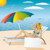 Femme sexy en bikini sur la plage avec epmty conseil 2 — Vecteur