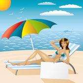 Sexy woman in bikini on the beach with epmty board — Stock Vector