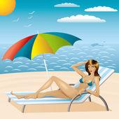 Sexy žena v plavkách na pláži 3 — Stock vektor