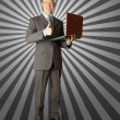 Full length portrait of businessmwith laptop — Stockfoto #5173587