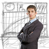 Male in suit with folded hands — Stock Photo