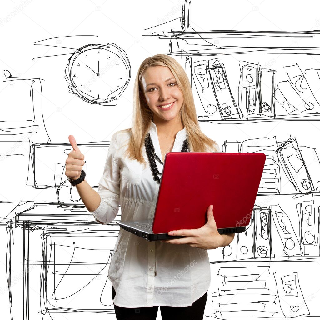 Businesswoman with red laptop shows well done — Stock Photo #5173542
