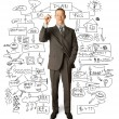 Businessman with marker — Stock Photo
