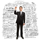 бизнесмен с маркером — Стоковое фото
