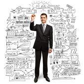 Empresário com marcador — Foto Stock