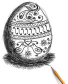 Sketch of easter egg and pencil — Stock Photo