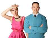 Female in pink and male in blue — Stock Photo