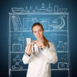 Doctor woman with cup for analysis — Foto de Stock