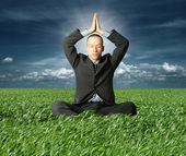 Businessman in lotus pose in green grass — Stock Photo