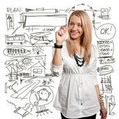 Affärskvinna skriva något — Stockfoto