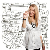 Imprenditrice scrivendo qualcosa — Foto Stock