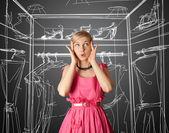 Förvånad flicka i rosa — Stockfoto
