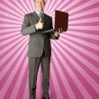 Full length portrait of businessmwith laptop — Stock Photo #5324513