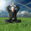 Businessman in lotus pose in green grass — Stock Photo #5370602