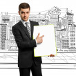 Foto Stock: Businessmwith empty write board