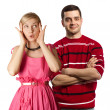 Stock Photo: Female in pink and male in red