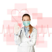 Doctor woman with electrocardiogram — Fotografia Stock