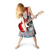 Hippie dívka s elektrická kytara — Stock fotografie