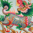 Traditional Thai style church wall art with chines dragon — Stock Photo