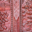 Old wooden door were carved Thai Archaeology — Stock Photo