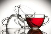 4 bardak çay ve çay — Stok fotoğraf