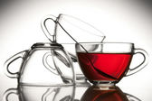 4 kopjes thee en thee — Stockfoto