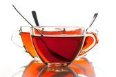 čajové šálky a čaj — Stock fotografie