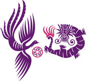 Fênix e o dragão — Vetorial Stock