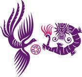 Phoenix e il drago — Vettoriale Stock