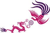 Phoenix and dragon — Stock Vector