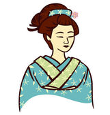 Beautiful Geisha — Stock Vector