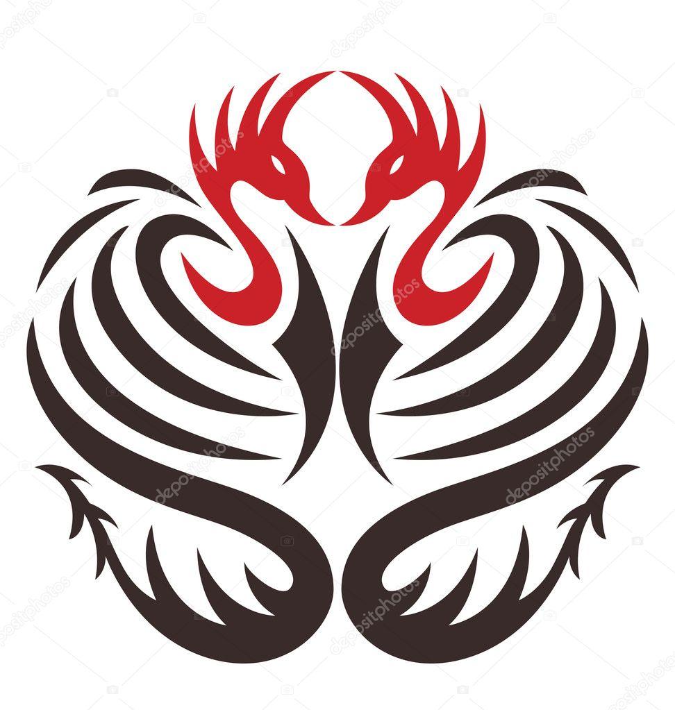 Two phoenix bird with dragon