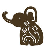 Decorative baby elephant sitting — Stock Vector
