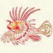 Tattoo Lion fish — Stock Vector