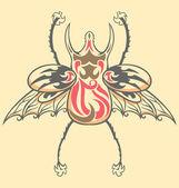 винтажные татуировки жук — Cтоковый вектор